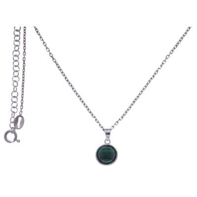 Collier pour femme en argent rhodié, malachite facettée - Lyn&Or Bijoux
