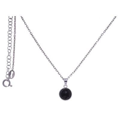 Collier pour femme en argent rhodié, onyx facettée - Lyn&Or Bijoux