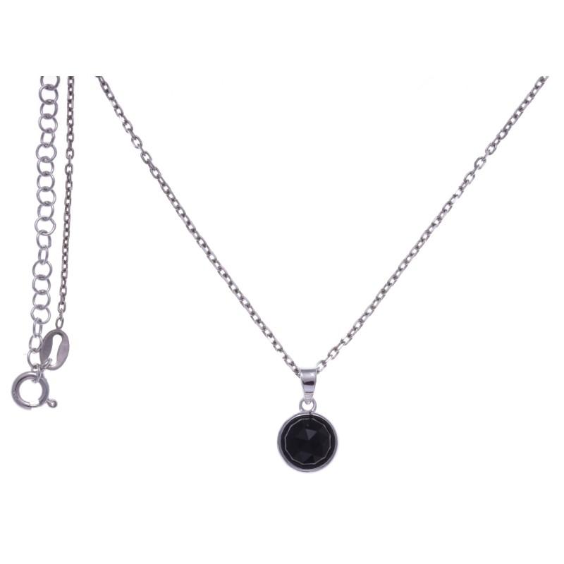 Collier en pierres naturelles pour femme en argent rhodié, onyx facettée