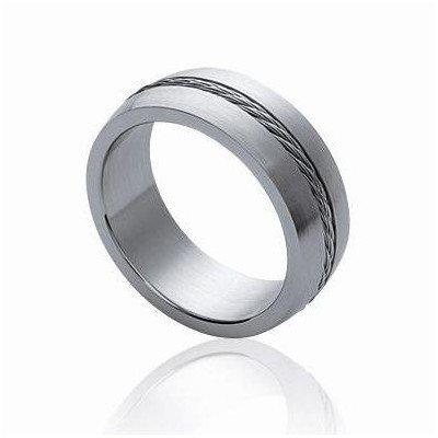 Bague pour homme, anneau en acier gris - Erato - Lyn&Or Bijoux