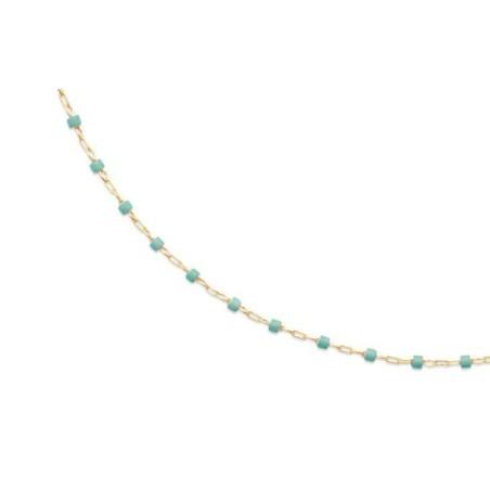 Collier vert en plaqué or pour femme - Bijoux femme