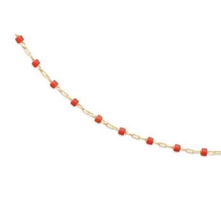 Collier pour femme, émail rouge en plaqué or - Bijoux Femme