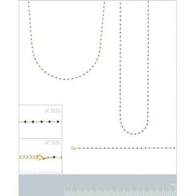 Collier pour femme, émail noir en plaqué or - Bijoux Femme