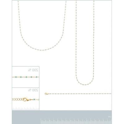 Long Collier sautoir 135 cm émail bleu turquoise plaqué or pour femme - Bijoux Femme