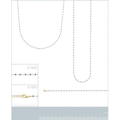 Long Collier sautoir 135 cm émail bleu plaqué or pour femme - Bijoux Femme