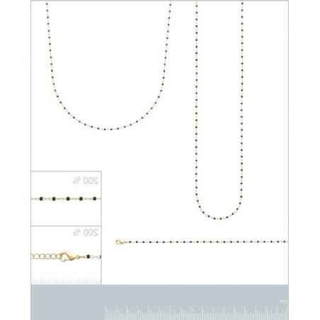 Collier Sautoir noir en plaqué or pour femme - Bijoux femme