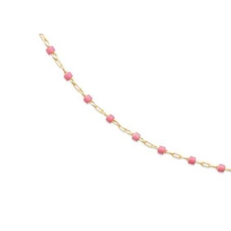 Long Collier sautoir 135 cm émail rose plaqué or pour femme - Bijoux Femme