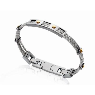 Bracelet rigide pour homme en câbles d'acier gris et doré, Bijoux Homme