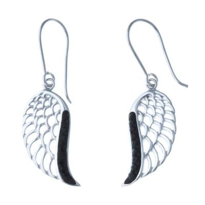 Boucles d'oreille femme, ailes en argent et cristal noir - Ciel - Lyn&Or Bijoux