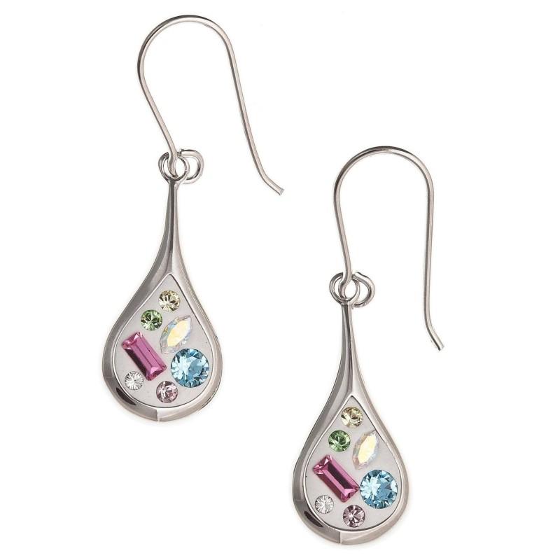 Boucles d'oreilles colorées en argent et cristal pour femme - Mija - Lyn&Or Bijoux