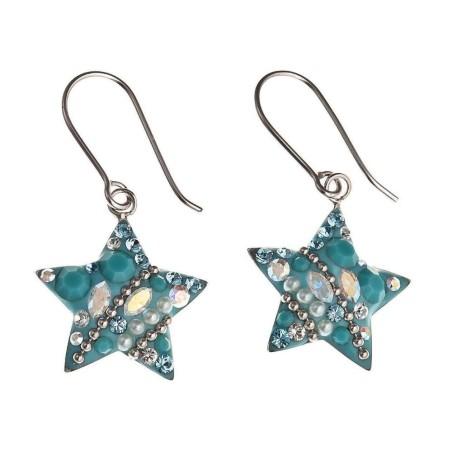 Boucles d'oreilles Swarovski et argent - Starlet Bleu