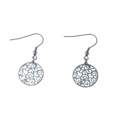 Boucles d'oreille femme en acier pendantes - Cyriana - Lyn&Or Bijoux