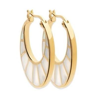 Boucles d'oreilles créoles femme, plaqué or & Nacre - Gimila - Lyn&Or Bijoux