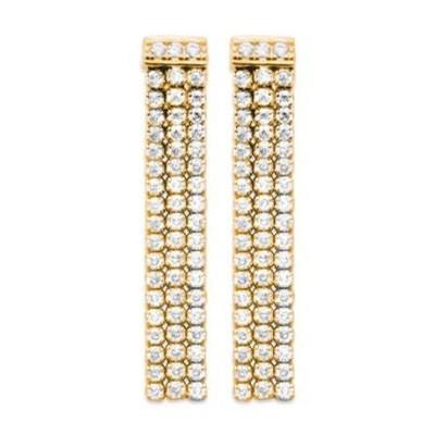 Boucles d'oreilles pendantes pour femme, plaqué or & Zircon - Flora - Lyn&Or Bijoux