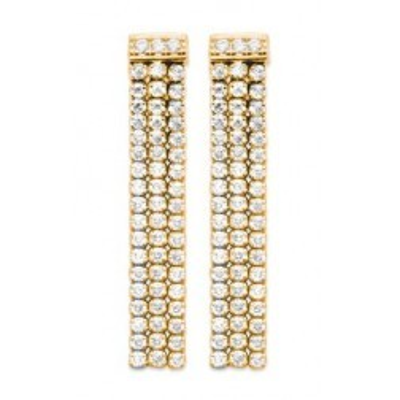 Boucles d'oreilles pendantes femme, plaqué or & Zircon