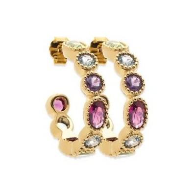 Créoles pour femme, plaqué or & cristal multicolore - Thyka - Lyn&Or Bijoux