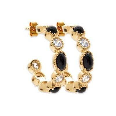 Boucles d'oreilles créoles femme, plaqué or & Agathe Noire - Yspa - Lyn&Or Bijoux