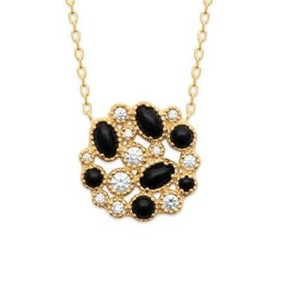 Collier pour femme doré en plaqué or, Agathe Noire & Zircon