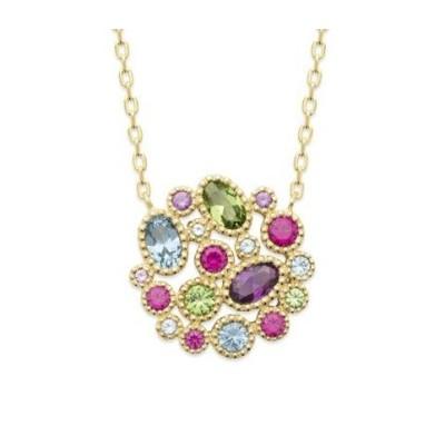 Collier multicolore pour femme en plaqué or & cristal coloré