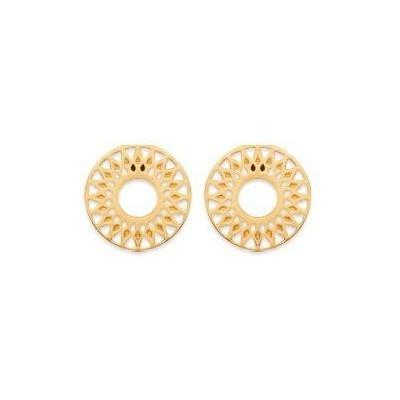 Boucles d'oreilles dorées solaires pour femme & fille en plaqué or