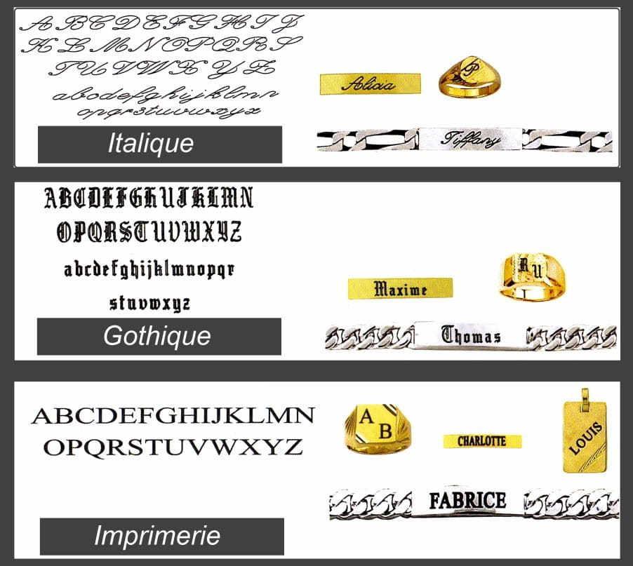 police d'ecriture pour la gravure de bijoux personnalisés