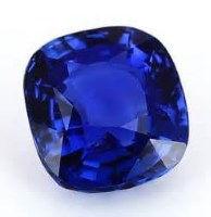 saphir bleu taillé en coussin